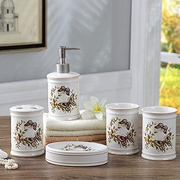 Brandream Luxury Butterfly Bathroom Accessories 5 Piece Ceramic Bathroom Set