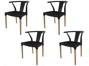 Ibh Design Lot 4 Chaises Chelsea Noir Chaise Scandinave Salle A Manger Noir