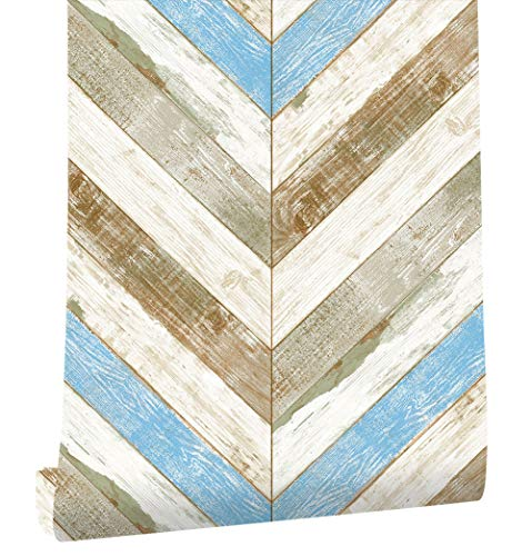 HaokHome 21503 Wood Herringbone Wallpaper Blue/Tan/Off White Textured for Home Bathroom Kitchen Accent Wall 20.8