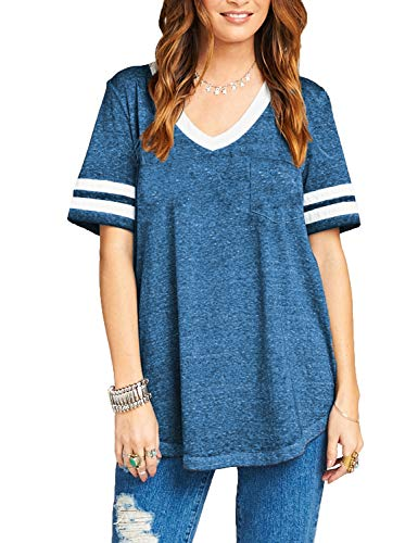 Football Jersey Tee - Sweetnight Ladies' Fine Jersey Short Sleeve Football Tee Striped Blouses Tops (Blue, XXL)