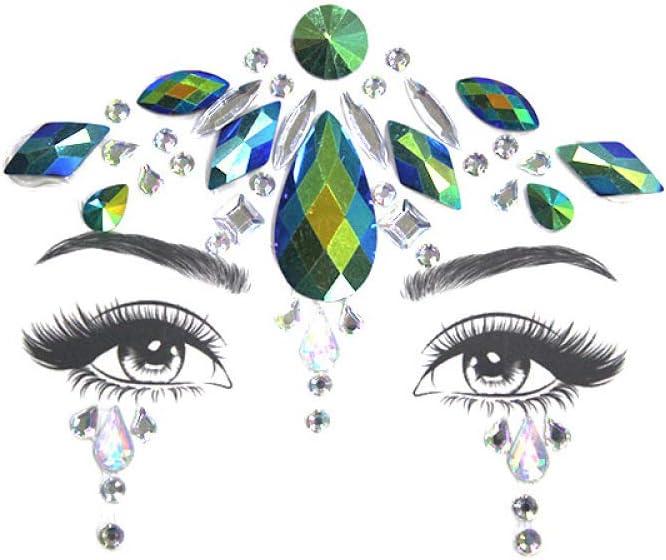 Tendencia tatuaje pegatinas diamante brillante espejo diamante cara decoración pegatinas piedras preciosas parche en el ojo
