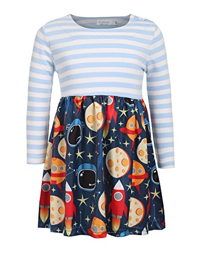 Arshiner Kids Girls Long Sleeve Casual Dress Striped Applique Cartoon Printed Cute A-Line Dress Blue 90(Age for 2-3Y)