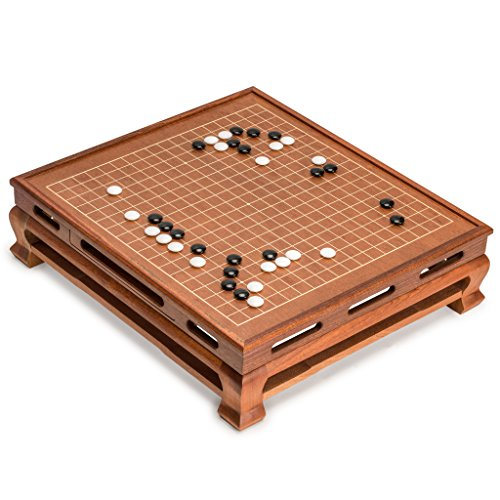 Go Game Set with Go Floor Board (0.4 Inch Thick Rosewood) and Double Convex Melamine Stones ()