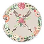 Crossed-Arrows-Sandstone-Car-Coasters-Boho-Floral-Wreath-Flower-Arrow-Tribal-Set-of-2