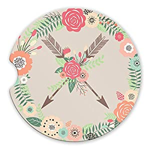 Crossed Arrows Sandstone Car Coasters Boho Floral Wreath Flower Arrow Tribal Set of 2 1