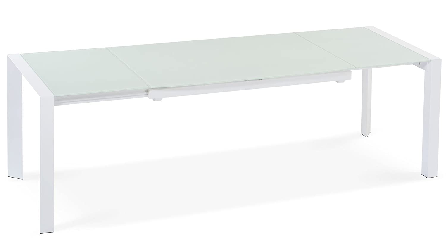 Zuri Furniture Alton Extending Modern Dining Table with White Glass Top