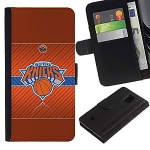 Nueva York Knick Baloncesto - la tarjeta de Crédito Slots PU Funda de cuero Monedero caso cubierta de piel Para Samsung Galaxy S5 Mini (Not S5), SM-G800