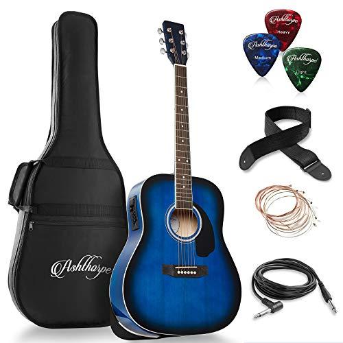 Ashthorpe Full-Size Dreadnought Acoustic-Electric Guitar Bundle – Premium Tonewoods – Blue