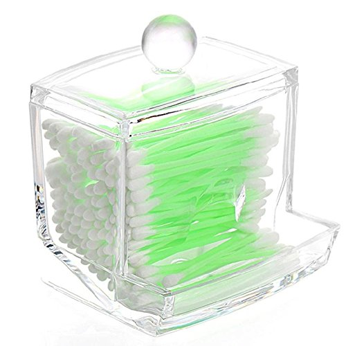Clear Acrylic Swab Storage Case Organizer Storage Holder Box Transparent Cotton Bud For Cotton Swabs Q-Tips Make Up Pads Cosmetics For Bathroom
