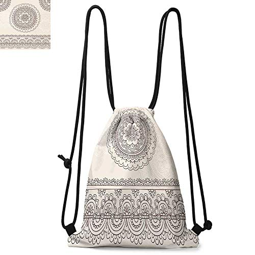 Henna Printed drawstring backpack Floral Tattoo Design Inspirations from Asian Civilizations Doodle Style Soft Colored Suitable for school or travel W13.8 x L17.7 Inch Brown Cream