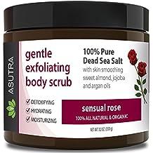 "Best ORGANIC Exfoliating Body Scrub - ""SENSUAL ROSE"" - 100% Pure Dead Sea Salt Scrub / Ultra Hydrating & Moisturizing with SKIN SMOOTHING Jojoba, Sweet Almond & Argan Oils - 12oz…"