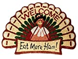 Thanksgiving Turkey Shaped 'Eat More Ham' Fall Welcome Doormat