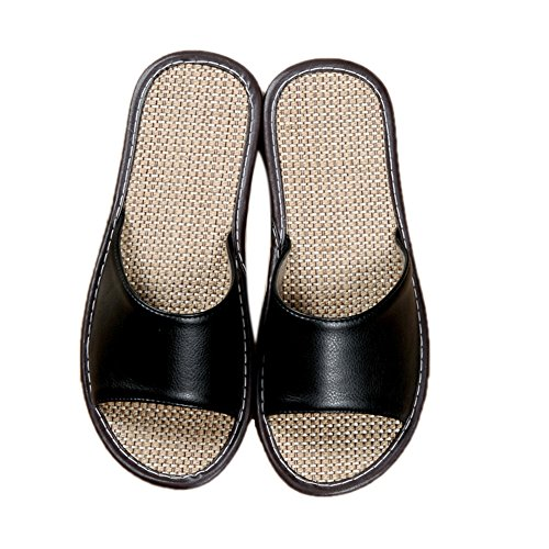 TELLW Summer Male Lady Home Indoor Couple Linen Leather Slippers Wooden Floor Casual Cool Slippers Men Black VYxRDdJFM0