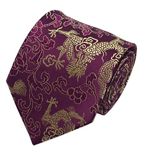 (Men's Purple Floral Gold Ties Dragon Paisley Jacquard Luxurious Banquet Necktie)