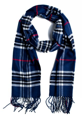 Plum Feathers Super Soft Luxurious Cashmere Winter Scarf (Navy Blue) (Plum Navy)