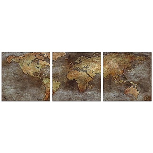 World Map Art '1800s Trade Routes Map Triptych' by Ben Judd - Rustic Wall Decor Historic Artwork on Metal
