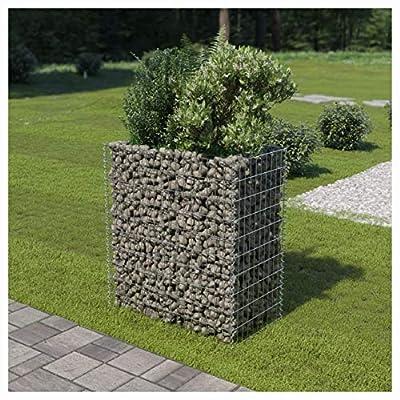 "HomyDelight Pot & Planter, Gabion Planter Galvanized Steel 35.4""x19.7""x39.4"""