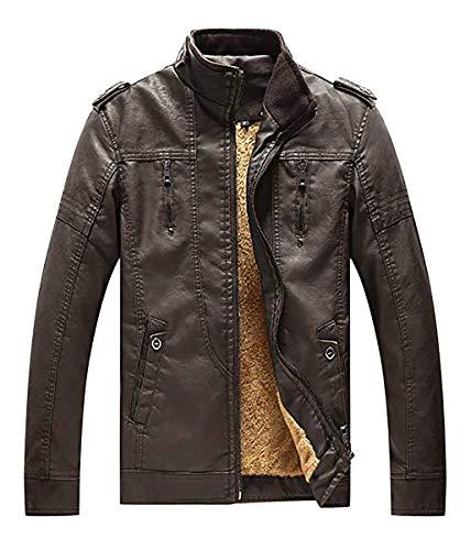 (YIMANIE Men's Vintage Casual PU Leather Jacket Waterproof Motorcycle Jacket Biker Windbreaker Coffee)