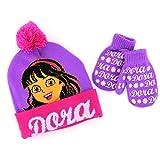 Disney Nickelodeon Toddler Girls Hat and Mittens Set (Purple/Pink Dora)