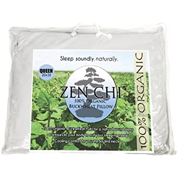 "Buckwheat Pillow- Organic Queen Size (20""X30"") w Natural Cooling Technology- All Cotton Cover w Organic Buckwheat Hulls"