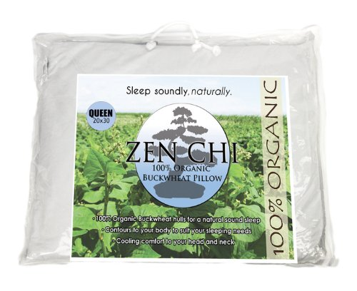 "Zen Chi Organic Queen Size Buckwheat Pillow for Sleeping (20""X30"") w Natural Cooling Technology and All Cotton Cover w Organic Buckwheat Hulls"