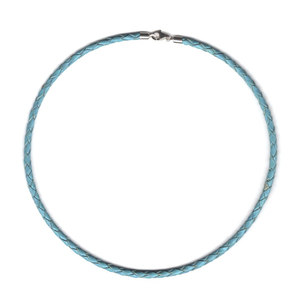 Sterling Silver Clasp and Length Choice up to 30 21 by Greek Crafts Pearl Blue Braided Leather Cord Necklace 4 mm