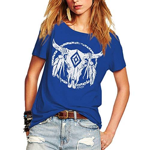 - Weigou Summr Women T-Shirt Short Sleeve Loose T Shirt Lady Tops Graphic Printed T Shirt Cute Tops Juniors Tees (XXL, Blue(1))
