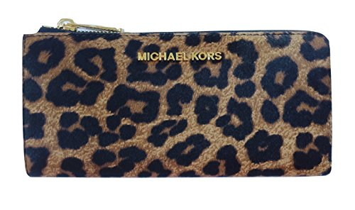 Michael Kors Bedford Large Three Quarter Zip Around Haircalf Wallet (Cheetah - Guys Kors Michael