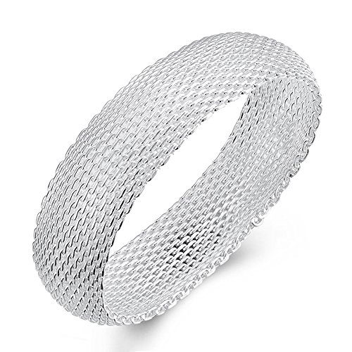 SWOPAN 925 Sterling Silver Plated Filigree Mesh Chunky Bangle Bracelet for Women Girl 20MM Wide Closure Hollow Out Female Charms Bangle Novelty Silver Jewelry