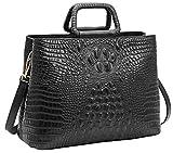 Tote Heshe Womens Crocodile Leather Shoulder Handbags Bags Satchel Purse (Black)