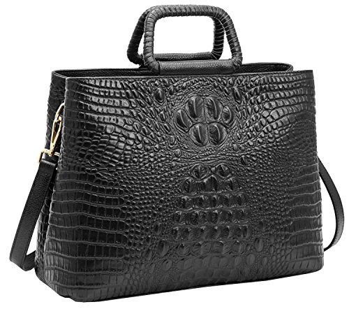 Womens 2 size Crocodile Grain Leather Handbag Shoulder bag (Black) - 2