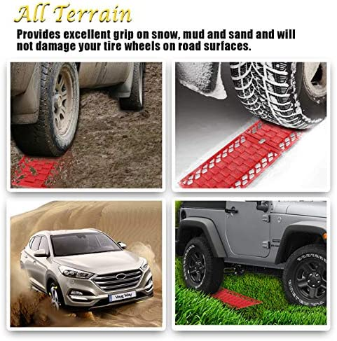 FAVOMOTO 2 Sets Tire Snow Traction Device Rubber Adjustable Anti Skid Anti Slip Car Snow Mud Sand Chain Traction Block Mat for Truck SUV Auto