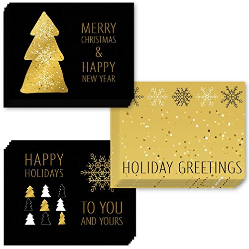 24 Pack Holiday Greeting Cards, Assortment of 3 Elegant Gold Christmas Cards Set with Envelopes Included, Season's Greetings with 24 Lovely Mixed Variety Boxed Cards, Excellent Value by Digibuddha