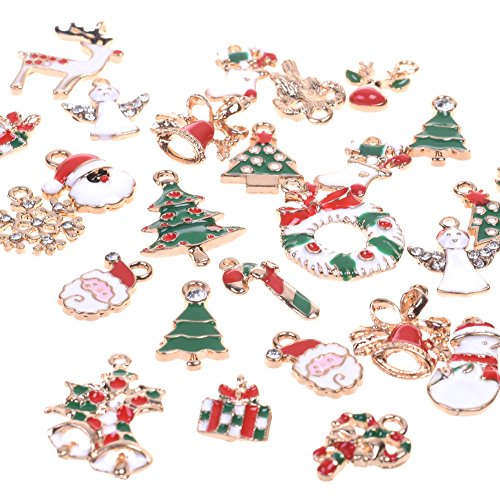 Enamel Decoration (BCP 34pcs Mixed Style Christmas Tree Snowman Snowflake Deer Bell DIY Enamel Christmas Charms Decorations Pendants)