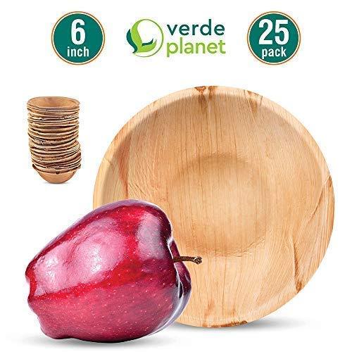 Verde Planet - 6 inch Round Palm Leaf Bowls - Biodegradable, Ecofriendly, Disposable, Sturdy, Elegant, Premium Quality Bowls - 25 Count