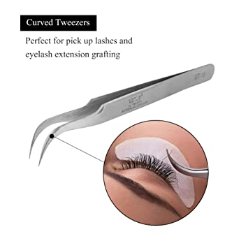 LASHVIEW Vetus Angled Pointed Perfect Craft Fine Angled Removal Stainless Steel Tip Curved Tweezers For Profissional Grafting Eyelash Extension False Eyelash Nail Art Electionics Medical
