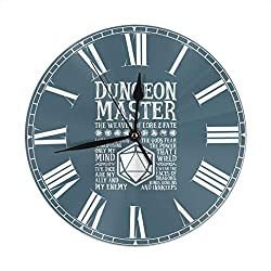 Flypo-yoc Dungeon Master, The Weaver of Lore & Fate - Dungeons & Dragons Round Wall Clock - Silent Non Ticking Decorative for Home Office School Clock Art