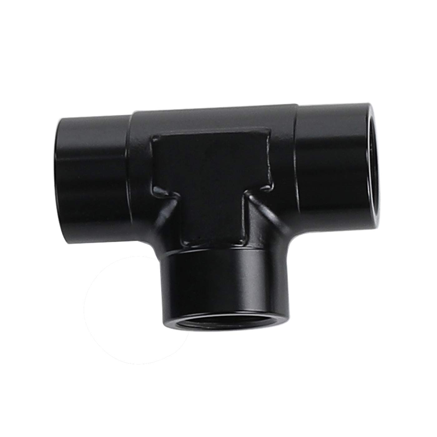 6AN Black Aluminum 6AN Male Flare Tee Fitting With AN6 Female Swivel On Run Adaptor