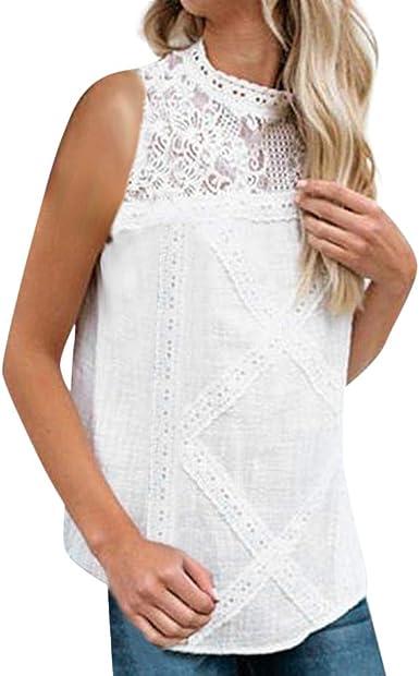 VEMOW Blusa Encaje para Mujer Patchwork Flare Ruffles Camisa ...