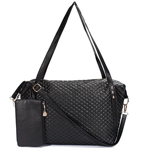 OURBAG Bolso de hombro de mujer Juego de 2 bolsos de cuero de la PU de la bolsa de asas Negro Negro