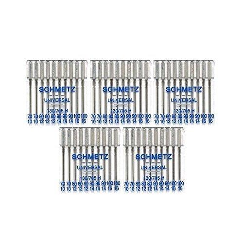 50 Schmetz Assorted Universal Sewing Machine Needles 130/705H 15x1H Sizes 70/10, 80/12, 90/14, 100/16 (5) by Schmetz