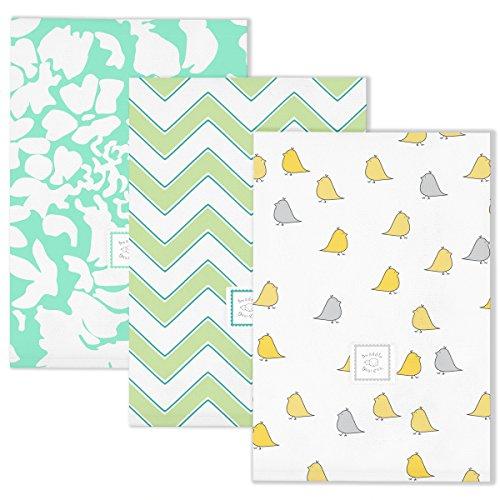 SwaddleDesigns Baby Burpies, Little Chickies Fun, Set of 3 Burp Cloths