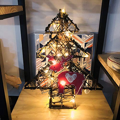 Longay DIY Rattan Wreath String Lights Lamp Christmas Door Wall Decor with 20 LED Beads (D)