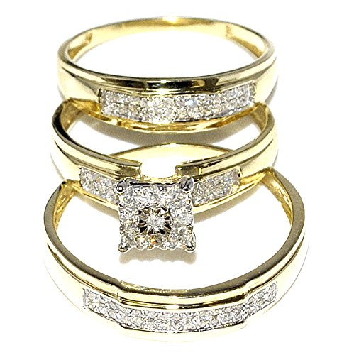 034ct Trio Wedding Rings Mens and Womens 10K Gold Real Diamond in