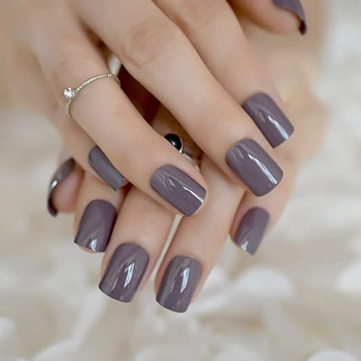 Amazon.com : CoolNail Gray Brown False Nails Tips Deep Brown Purple Acrylic UV Gel Fake Nail Art Tools Full Cover Artificial French Summer Daily Wear : ...