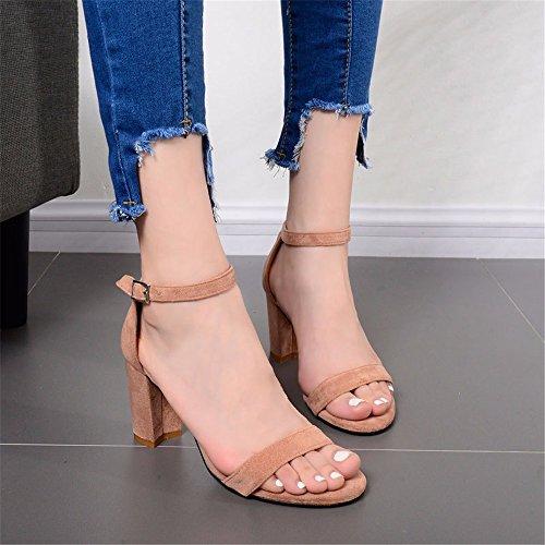 Heel High Womens Eu35 Buckle Sandals nbsp;Roman Women Sandals Shoes Velvet Color Heeled Sandals Party Apricot For For Heels nbsp; High 8pXaH0q7a