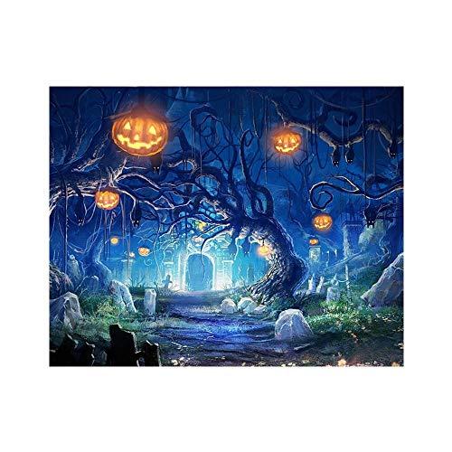 Happy Halloween DIY Diamond Painting, 5DFull Embroidery Paintings Rhinestone Pasted DIY Diamond Painting Cross Stitch (Pumpkin Light Tree) -
