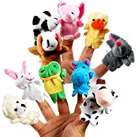 Guilty Gadgets 10x Farm Zoo Animal Finger Puppets Toys Boys Girls Babys Party Bag Filler