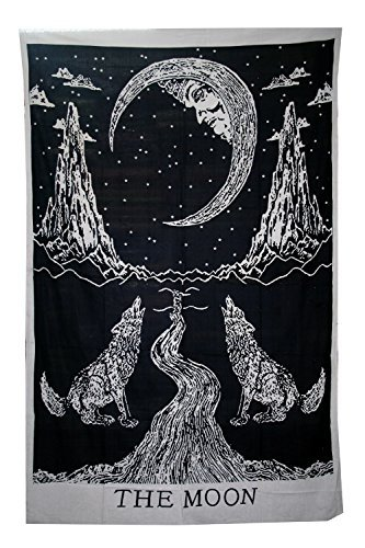 Crying Wolf of The Moon Tapestry wall hanging Bohemian Bed Sheet Ethnic Wall Art