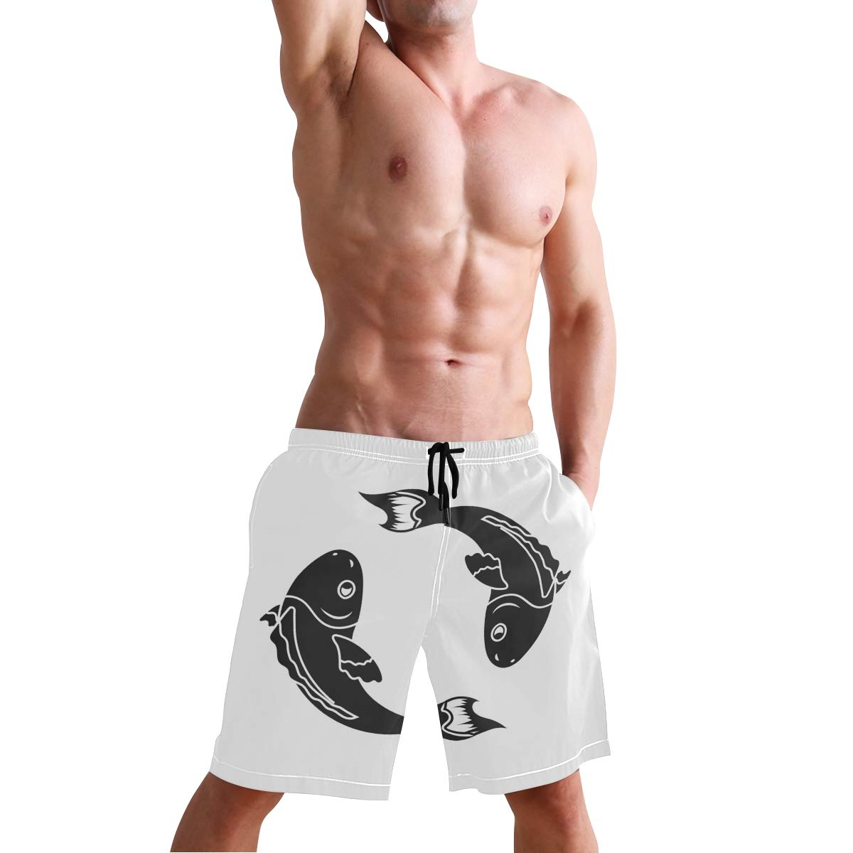 Mens Beach Swim Trunks Black and White Koi Fish Boxer Swimsuit Underwear Board Shorts with Pocket